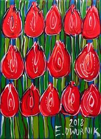 Obraz do salonu artysty Edward Dwurnik pod tytułem Czerwone tulipany 7402