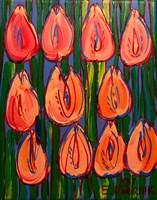 Obraz do salonu artysty Edward Dwurnik pod tytułem Pomarańczowe tulipany 6980