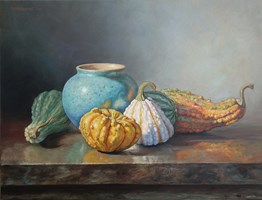 Living room painting by Wojciech Piekarski titled Pumpkins