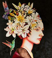 Living room painting by Joanna Szumska titled Girl with hummingbirds