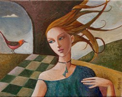 Living room painting by Agnieszka Korczak-Ostrowska titled Girl with bird