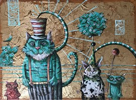 Living room painting by Magdalena Rytel-Skorek titled Circus performers