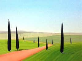Living room painting by Jacek Malinowski titled Primavera in Val d'Orcia