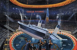 Living room painting by Adam Swoboda titled Titanic