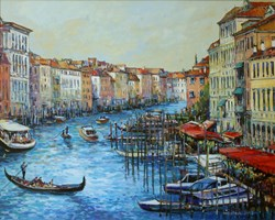 Living room painting by Piotr Rembieliński titled Venice, Canal Grande