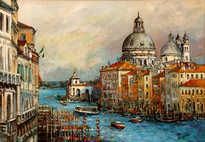 Living room painting by Piotr Rembieliński titled Venice, Canal Grande II