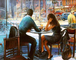 Living room painting by Piotr Rembieliński titled Coffee in New York