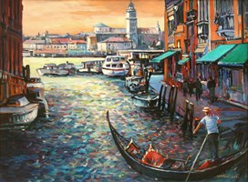 Living room painting by Piotr Rembieliński titled Venice I