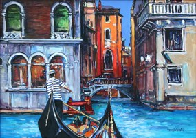 Living room painting by Piotr Rembieliński titled Venice II