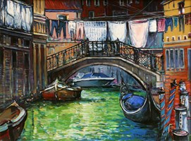 Living room painting by Piotr Rembieliński titled Venice III
