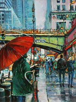 Living room painting by Piotr Rembieliński titled New York, The Village