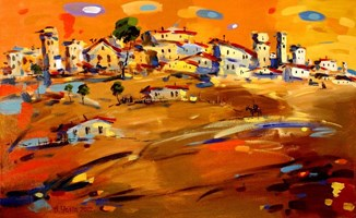 Living room painting by Aleksander Yasin titled The suburbs of Jerusalem