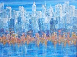 Living room painting by Danuta Niklewicz titled Manhattan I
