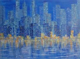 Obraz do salonu artysty Danuta Niklewicz pod tytułem Manhattan-Impresja wieczorna