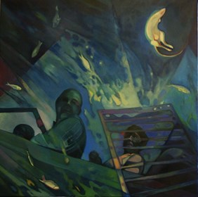 Living room painting by Katarzyna Saniewska titled Ark