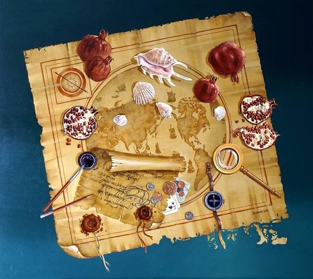 Obraz do salonu artysty Aleksander Yasin pod tytułem Mapa podróżnika
