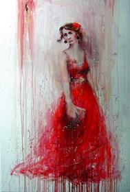Obraz do salonu artysty Dariusz Grajek pod tytułem Czerwona sukienka....