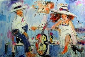 Obraz do salonu artysty Dariusz Grajek pod tytułem Na ławeczce.....