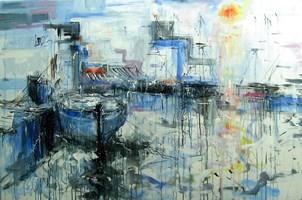 Obraz do salonu artysty Dariusz Grajek pod tytułem Błękitna zatoka....