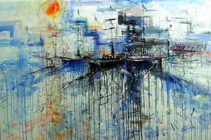 Obraz do salonu artysty Dariusz Grajek pod tytułem Słońce w porcie....