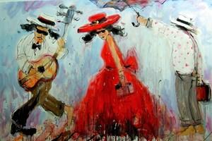 Obraz do salonu artysty Dariusz Grajek pod tytułem Pod parasolem......