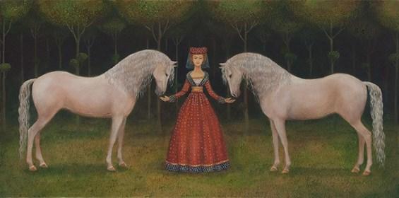 Obraz do salonu artysty Malwina de Brade pod tytułem Siwe konie