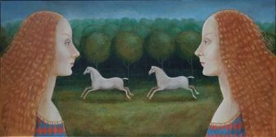 Obraz do salonu artysty Malwina de Brade pod tytułem Siostry