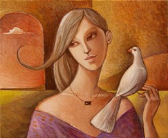 Living room painting by Agnieszka Korczak-Ostrowska titled Girl and pigeon