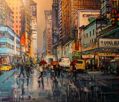 Living room painting by Piotr Rembieliński titled New York