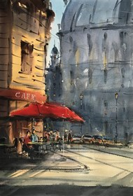 Living room painting by Aleksander Yasin titled Espresso in Paris