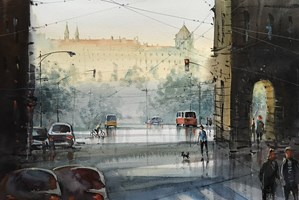 Living room painting by Aleksander Yasin titled Praha