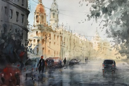 Living room painting by Aleksander Yasin titled After the rain1