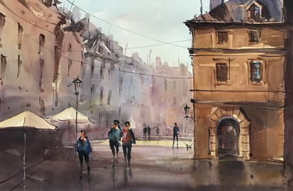 Living room painting by Aleksander Yasin titled Old Town1