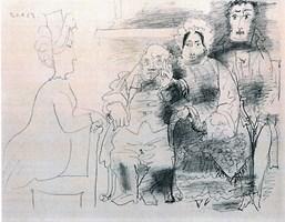 Grafika do salonu artysty Pablo Picasso pod tytułem Portret rodzinny