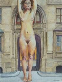 Obraz do salonu artysty Hippolite Vogel pod tytułem Piękna kamienica tuż przy parku