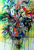 Obraz do salonu artysty Dariusz Grajek pod tytułem Kwiaty w wazonie...