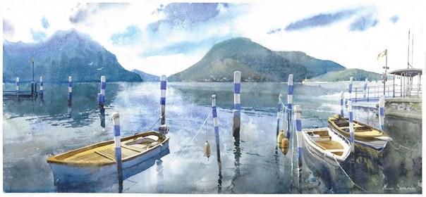 Obraz do salonu artysty Michał Suffczyński pod tytułem Łodzie. Jezioro w d'ldiseo