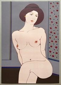 Obraz do salonu artysty Henryk Płóciennik pod tytułem Kobieta siedząca w kapeluszu