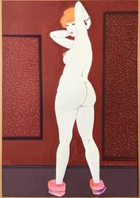 Obraz do salonu artysty Henryk Płóciennik pod tytułem Kobieta stojąca w obuwiu