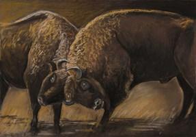 Obraz do salonu artysty Agnieszka Korczak pod tytułem Żubry