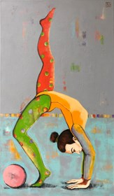 Living room painting by Renata Magda titled Acrobat