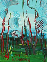 Living room painting by Edward Dwurnik titled Pine trees 2