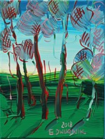 Living room painting by Edward Dwurnik titled Pine trees 4