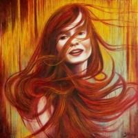 Living room painting by Konrad Hamada titled Redheaded 2