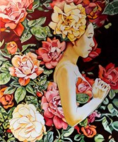 Living room painting by Joanna Szumska titled Rose garden