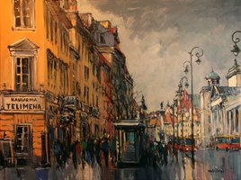 Living room painting by Piotr Rembieliński titled Warsaw
