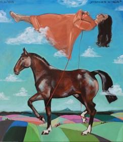 Obraz do salonu artysty Małgorzata Łodygowska pod tytułem Układanie konia