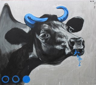 Living room painting by Małgorzata Łodygowska titled Cow