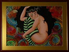 Living room painting by Iwona Wierkowska-Rogowska titled Twist