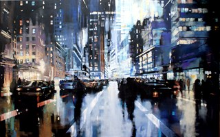 Living room painting by Piotr Zawadzki titled NYC Night Riders II